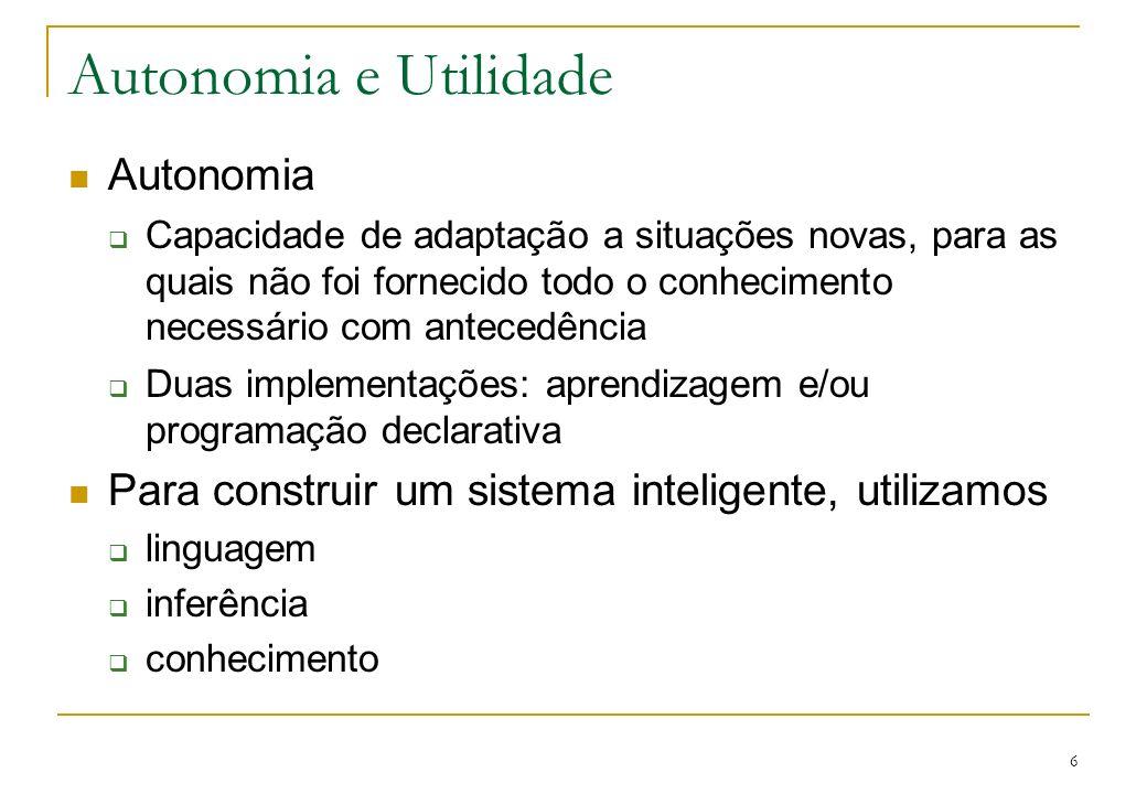6 Autonomia e Utilidade Autonomia Capacidade de adaptação a situações novas, para as quais não foi fornecido todo o conhecimento necessário com antece