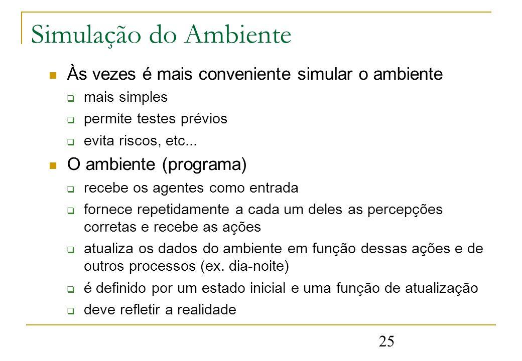 25 Simulação do Ambiente Às vezes é mais conveniente simular o ambiente mais simples permite testes prévios evita riscos, etc... O ambiente (programa)