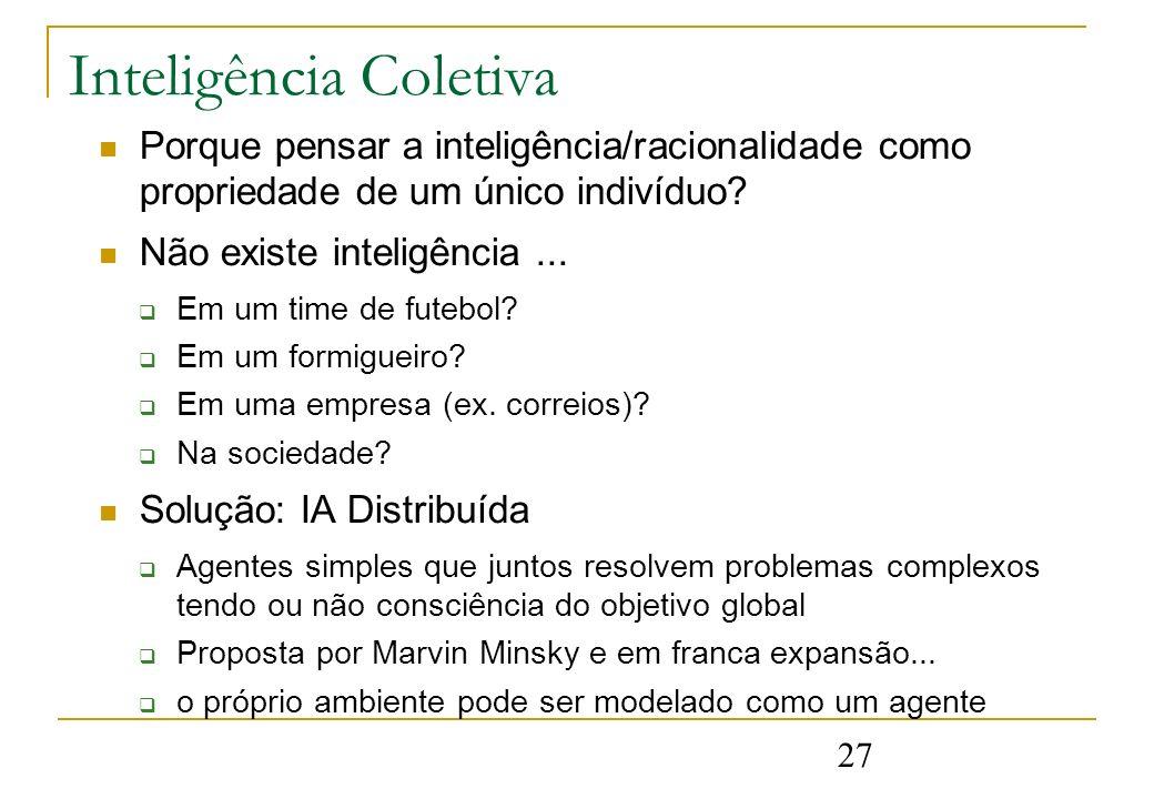 27 Inteligência Coletiva Porque pensar a inteligência/racionalidade como propriedade de um único indivíduo? Não existe inteligência... Em um time de f