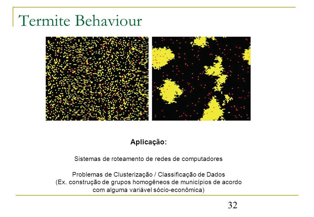 32 Termite Behaviour Aplicação: Sistemas de roteamento de redes de computadores Problemas de Clusterização / Classificação de Dados (Ex. construção de