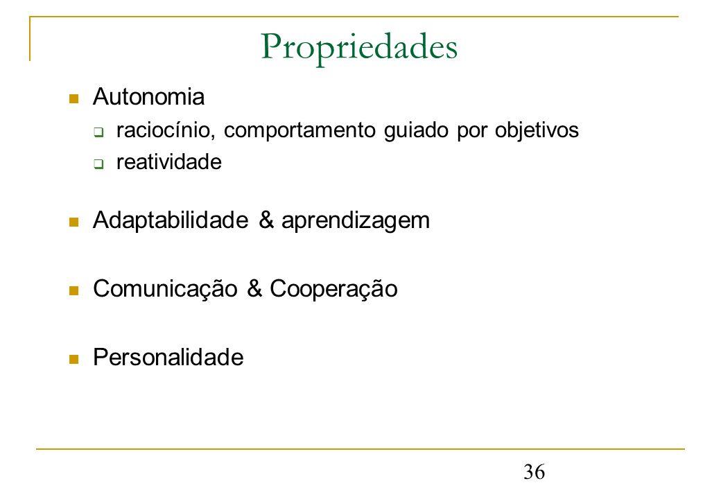 36 Propriedades Autonomia raciocínio, comportamento guiado por objetivos reatividade Adaptabilidade & aprendizagem Comunicação & Cooperação Personalid