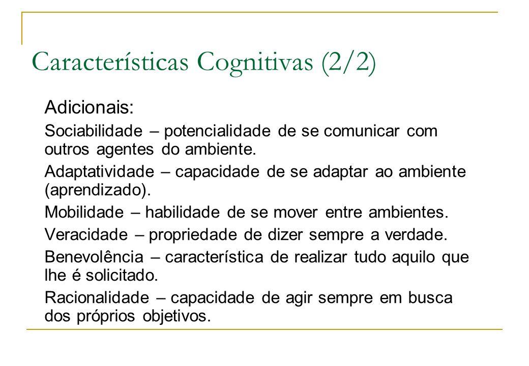 Características Cognitivas (2/2) Adicionais: Sociabilidade – potencialidade de se comunicar com outros agentes do ambiente. Adaptatividade – capacidad