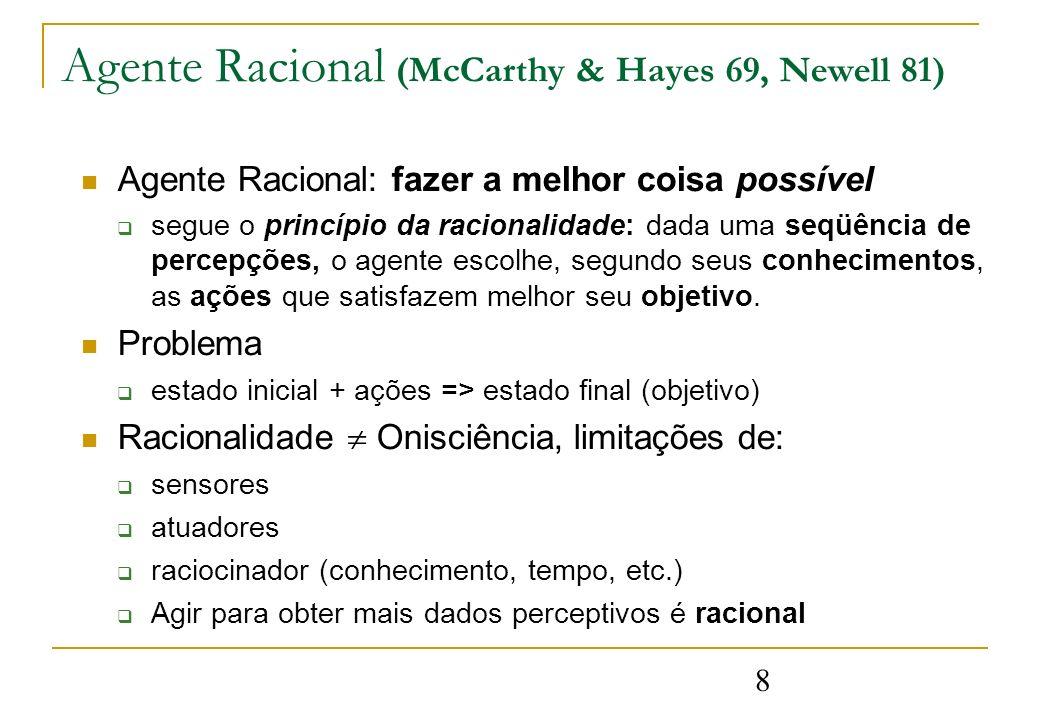 8 Agente Racional (McCarthy & Hayes 69, Newell 81) Agente Racional: fazer a melhor coisa possível segue o princípio da racionalidade: dada uma seqüênc