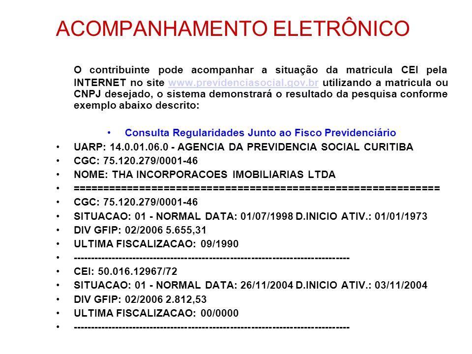 ACOMPANHAMENTO ELETRÔNICO O contribuinte pode acompanhar a situação da matricula CEI pela INTERNET no site www.previdenciasocial.gov.br utilizando a m