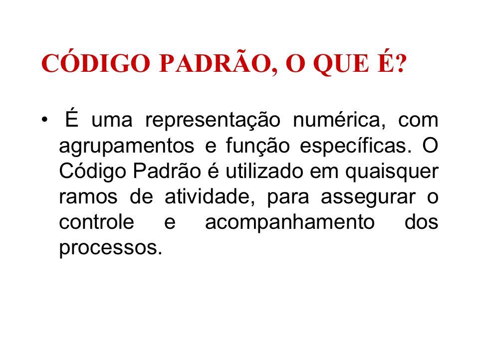CÓDIGO PADRÃO, O QUE É? É uma representação numérica, com agrupamentos e função específicas. O Código Padrão é utilizado em quaisquer ramos de ativida