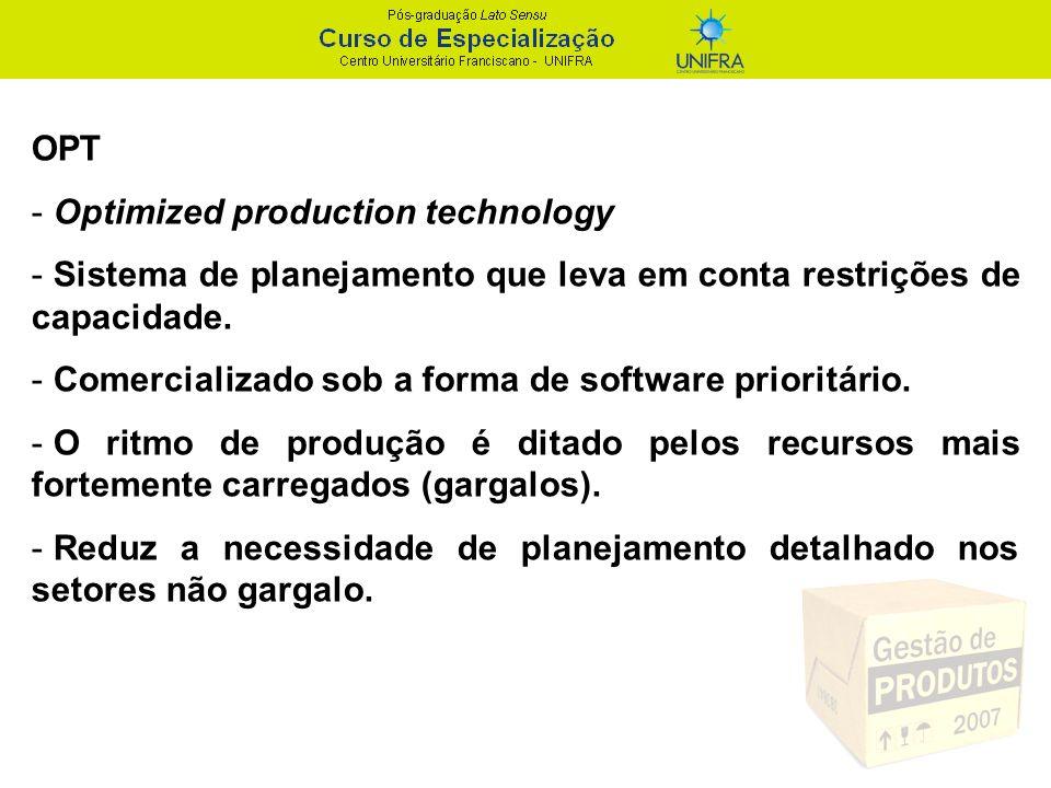 OPT - Optimized production technology - Sistema de planejamento que leva em conta restrições de capacidade. - Comercializado sob a forma de software p