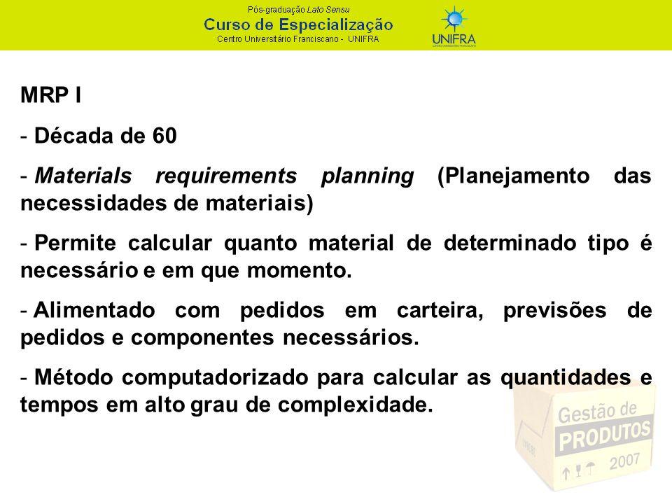 MRP I - Década de 60 - Materials requirements planning (Planejamento das necessidades de materiais) - Permite calcular quanto material de determinado