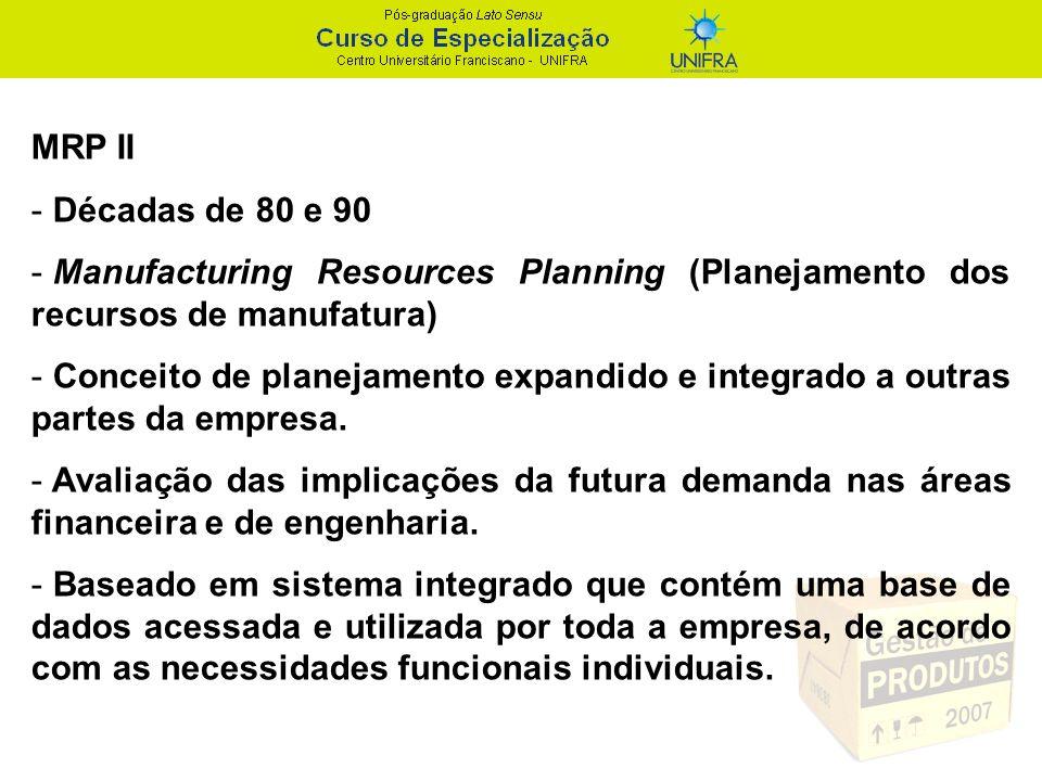 MRP II - Décadas de 80 e 90 - Manufacturing Resources Planning (Planejamento dos recursos de manufatura) - Conceito de planejamento expandido e integr