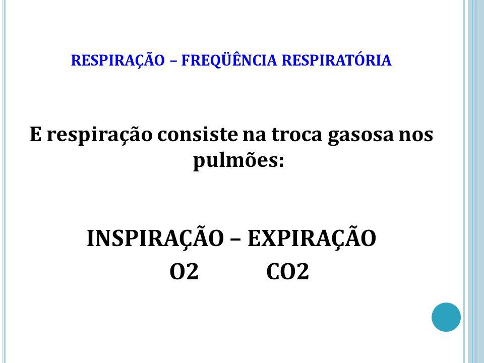 RESPIRAÇÃO – FREQÜÊNCIA RESPIRATÓRIA E respiração consiste na troca gasosa nos pulmões: INSPIRAÇÃO – EXPIRAÇÃO O2CO2