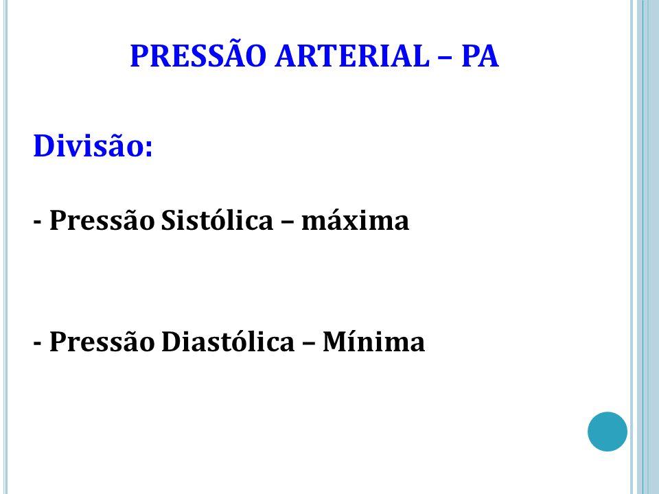 PRESSÃO ARTERIAL – PA Divisão: - Pressão Sistólica – máxima - Pressão Diastólica – Mínima