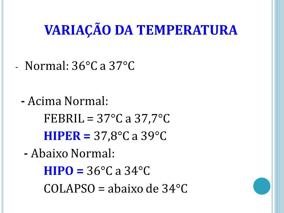 VARIAÇÃO DA TEMPERATURA - Normal: 36°C a 37°C - Acima Normal: FEBRIL = 37°C a 37,7°C HIPER = 37,8°C a 39°C - Abaixo Normal: HIPO = 36°C a 34°C COLAPSO