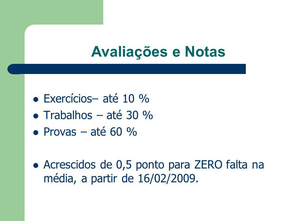 Avaliações e Notas Exercícios– até 10 % Trabalhos – até 30 % Provas – até 60 % Acrescidos de 0,5 ponto para ZERO falta na média, a partir de 16/02/200
