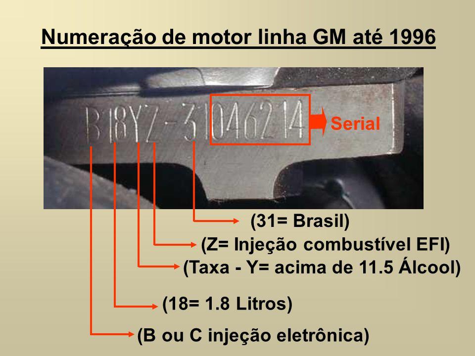 Numeração de motor linha GM até 1996 (B ou C injeção eletrônica) (18= 1.8 Litros) (Taxa - Y= acima de 11.5 Álcool) (Z= Injeção combustível EFI) Serial