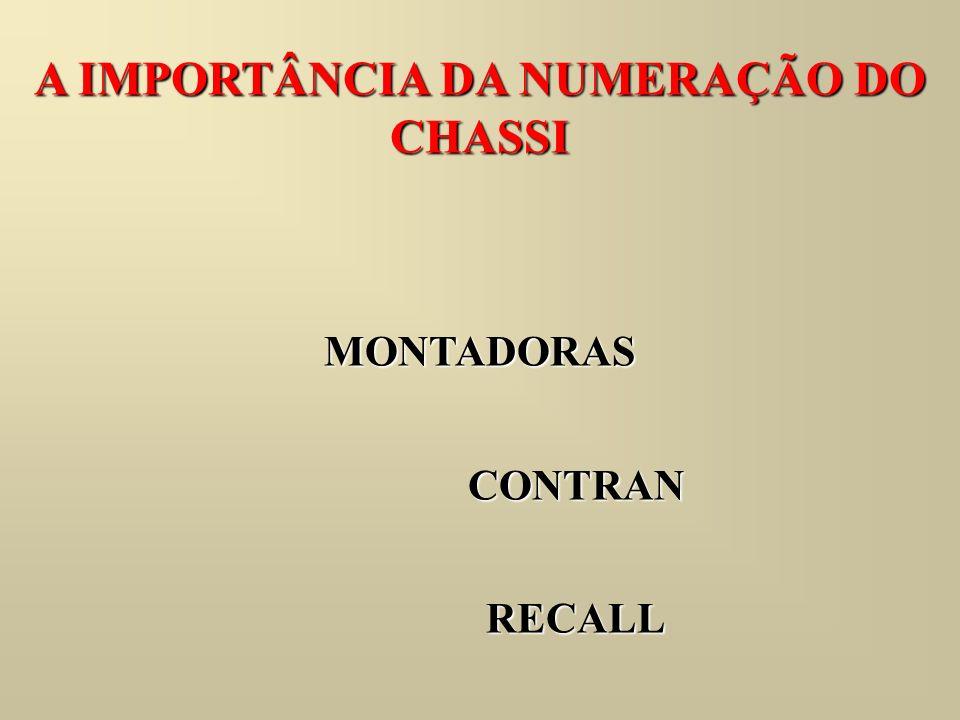 AGREGADOS São partes do veículo com numeração própria, associados ao número do chassi.
