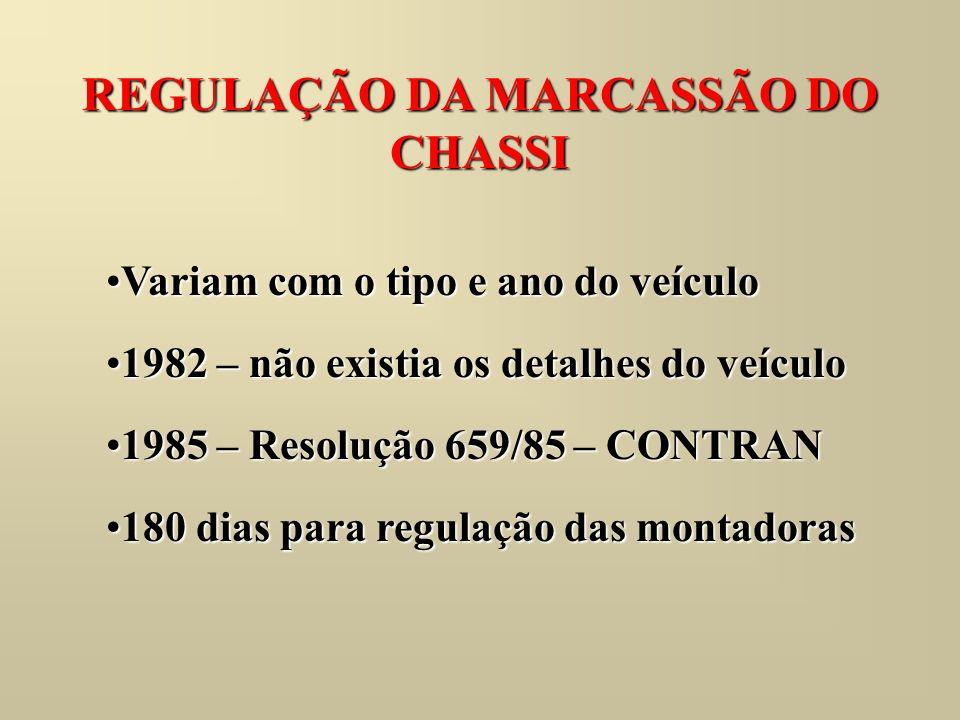 REGULAÇÃO DA MARCASSÃO DO CHASSI Variam com o tipo e ano do veículoVariam com o tipo e ano do veículo 1982 – não existia os detalhes do veículo1982 –