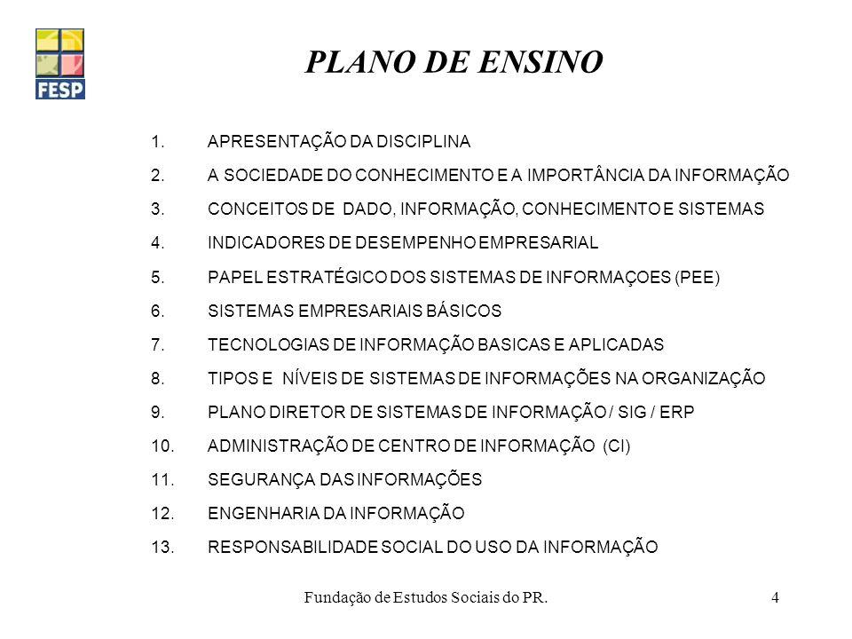 Fundação de Estudos Sociais do PR.4 PLANO DE ENSINO 1.APRESENTAÇÃO DA DISCIPLINA 2.A SOCIEDADE DO CONHECIMENTO E A IMPORTÂNCIA DA INFORMAÇÃO 3.CONCEIT