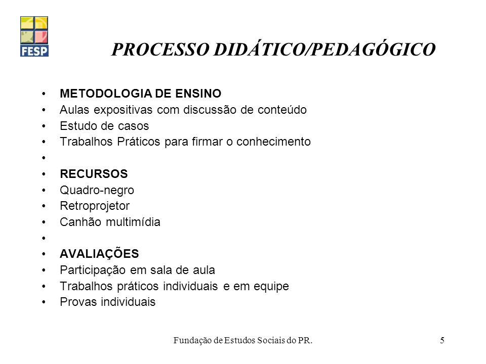 Fundação de Estudos Sociais do PR.5 PROCESSO DIDÁTICO/PEDAGÓGICO METODOLOGIA DE ENSINO Aulas expositivas com discussão de conteúdo Estudo de casos Tra