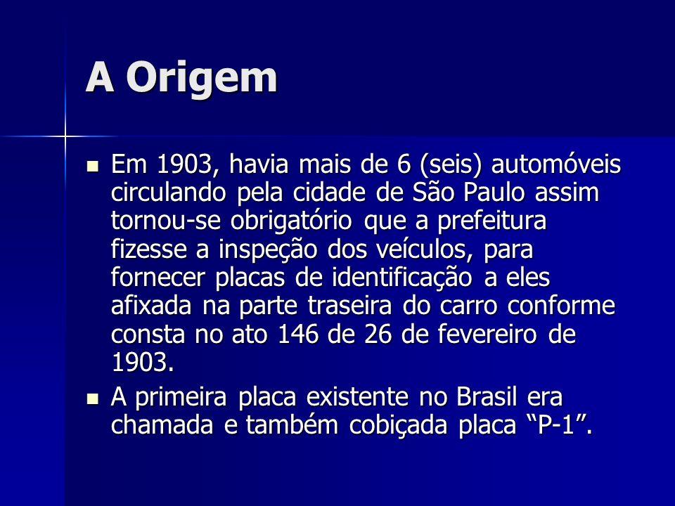 A Origem Em 1903, havia mais de 6 (seis) automóveis circulando pela cidade de São Paulo assim tornou-se obrigatório que a prefeitura fizesse a inspeçã