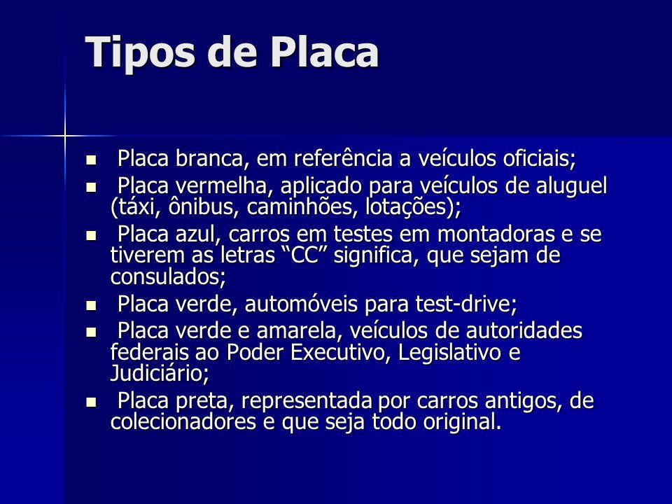 Tipos de Placa Placa branca, em referência a veículos oficiais; Placa branca, em referência a veículos oficiais; Placa vermelha, aplicado para veículo