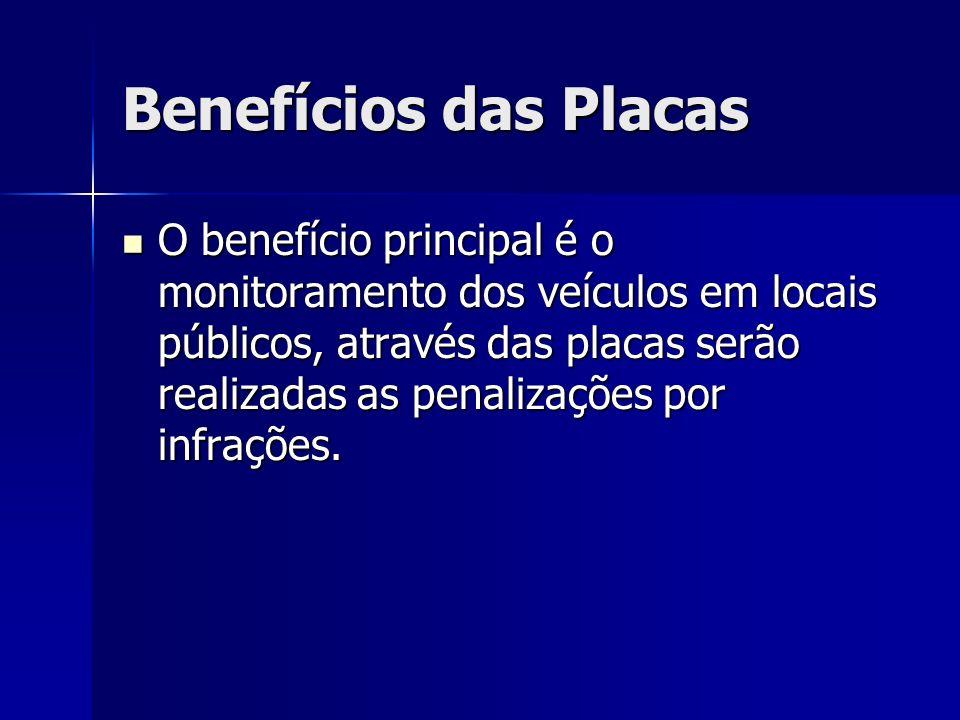 Benefícios das Placas O benefício principal é o monitoramento dos veículos em locais públicos, através das placas serão realizadas as penalizações por