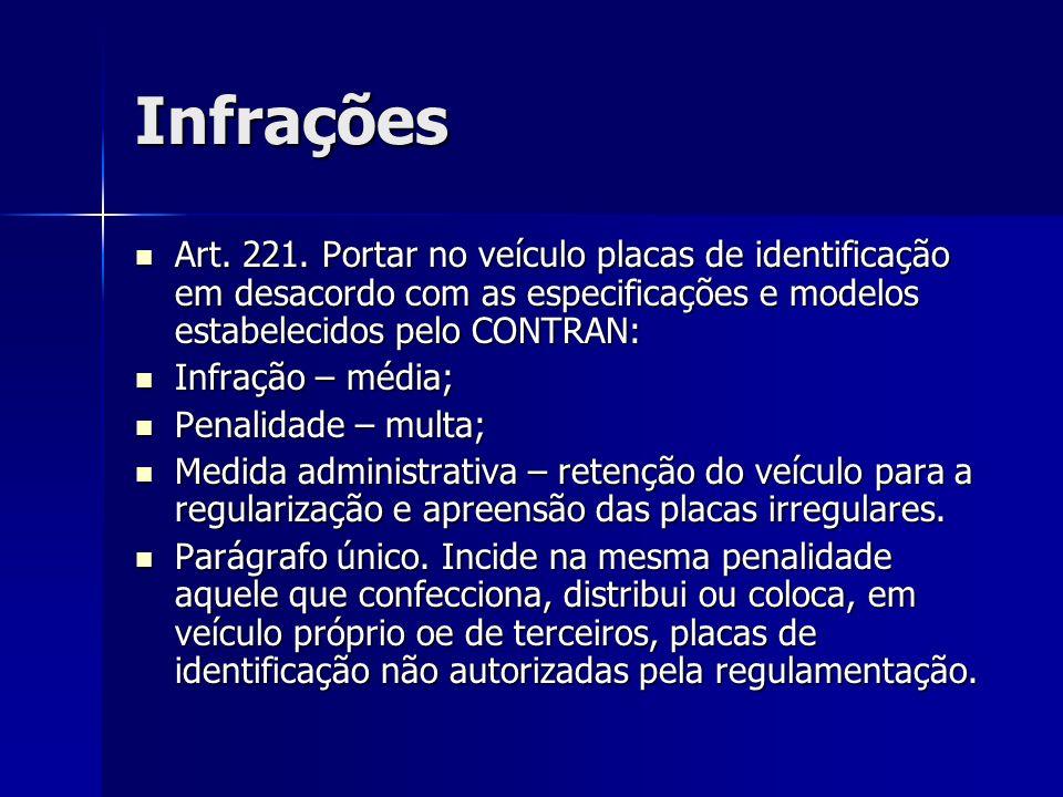 Infrações Art. 221. Portar no veículo placas de identificação em desacordo com as especificações e modelos estabelecidos pelo CONTRAN: Art. 221. Porta
