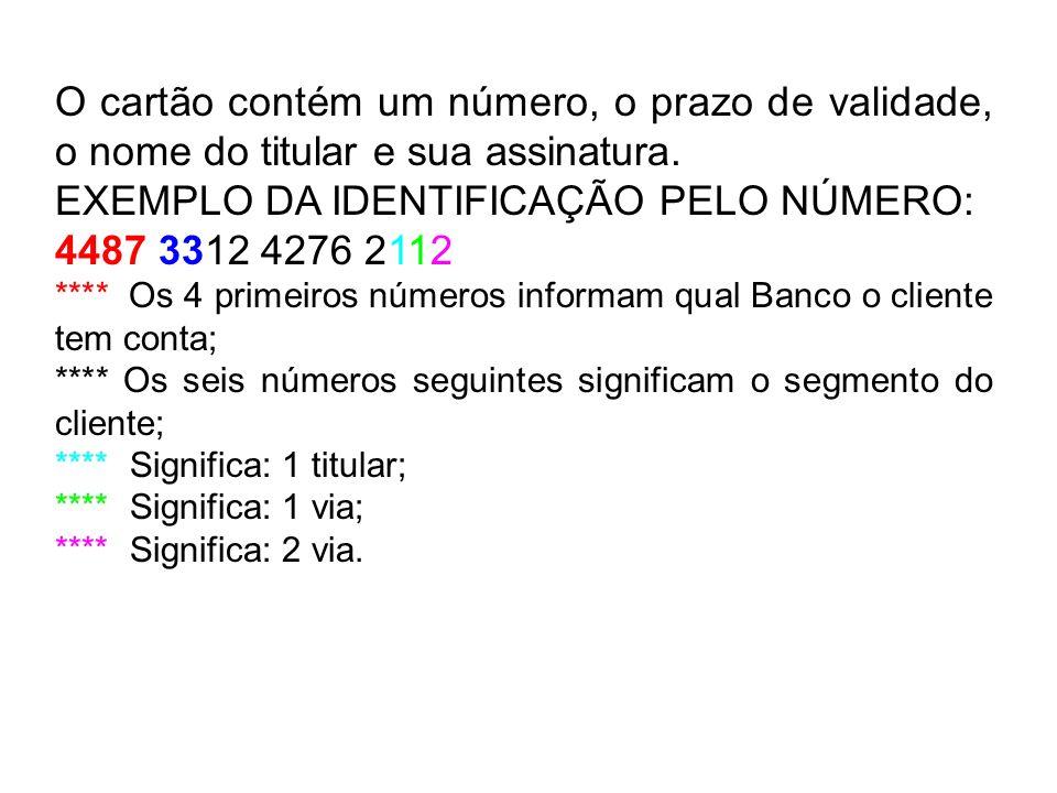 O cartão contém um número, o prazo de validade, o nome do titular e sua assinatura. EXEMPLO DA IDENTIFICAÇÃO PELO NÚMERO: 4487 3312 4276 2112 **** Os