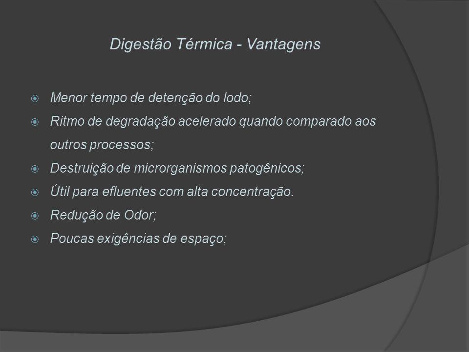 Digestão Térmica - Vantagens Menor tempo de detenção do lodo; Ritmo de degradação acelerado quando comparado aos outros processos; Destruição de micro