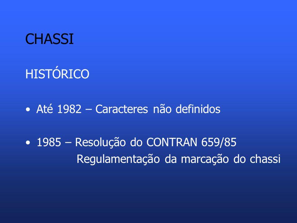 CHASSI HISTÓRICO Até 1982 – Caracteres não definidos 1985 – Resolução do CONTRAN 659/85 Regulamentação da marcação do chassi