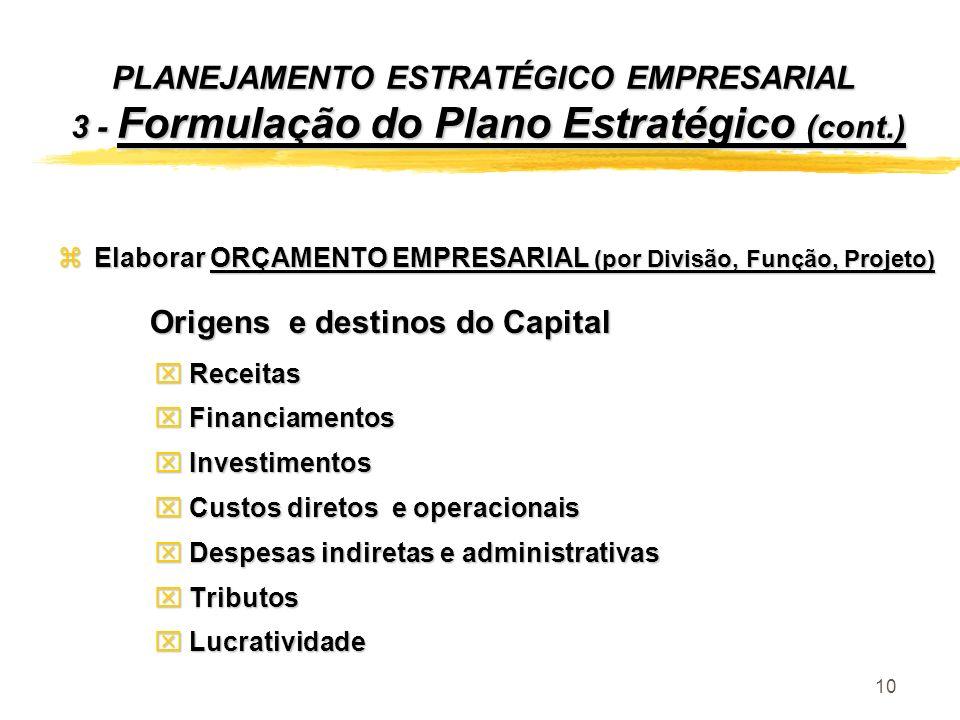 10 PLANEJAMENTO ESTRATÉGICO EMPRESARIAL 3 - Formulação do Plano Estratégico (cont.) zElaborar ORÇAMENTO EMPRESARIAL (por Divisão, Função, Projeto) Ori