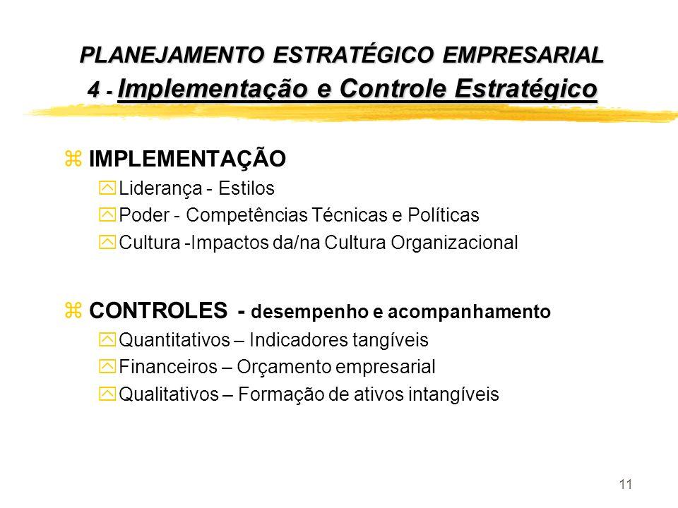 11 zIMPLEMENTAÇÃO yLiderança - Estilos yPoder - Competências Técnicas e Políticas yCultura -Impactos da/na Cultura Organizacional zCONTROLES - desempe