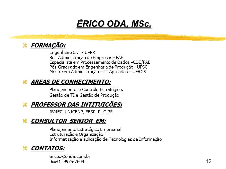 15 ÉRICO ODA, MSc. zFORMAÇÃO: Engenheiro Civil - UFPR Bel. Administração de Empresas - FAE Especialista em Processamento de Dados –CDE/FAE Pós-Graduad