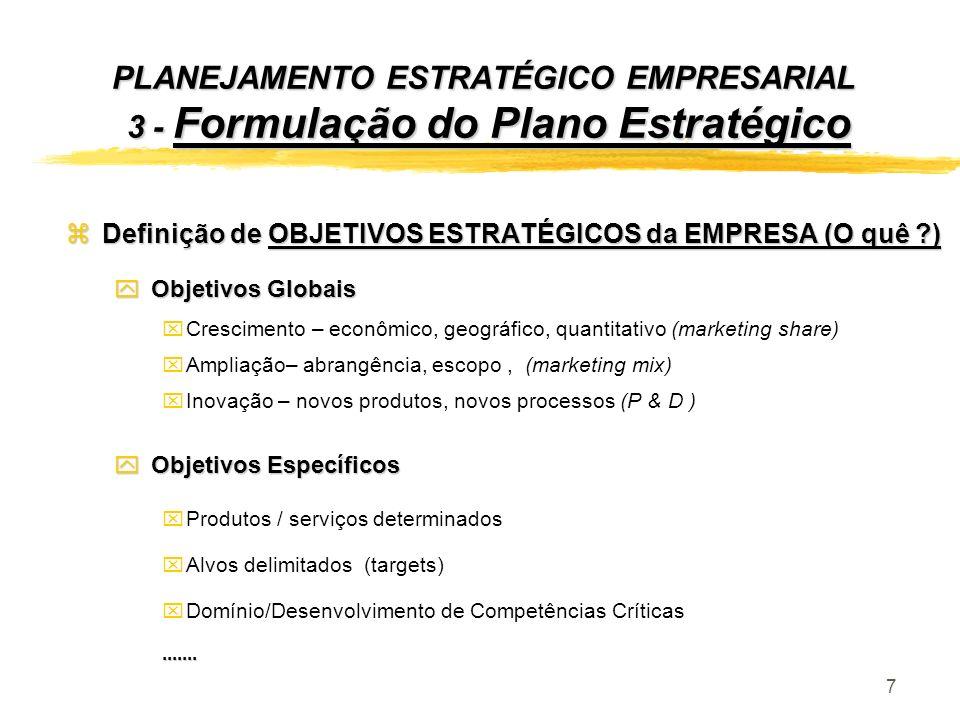 7 zDefinição de OBJETIVOS ESTRATÉGICOS da EMPRESA (O quê ?) y Objetivos Globais xCrescimento – econômico, geográfico, quantitativo (marketing share) x