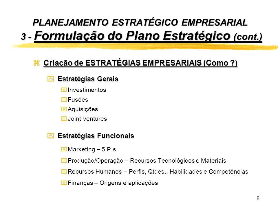 8 PLANEJAMENTO ESTRATÉGICO EMPRESARIAL 3 - Formulação do Plano Estratégico (cont.) zCriação de ESTRATÉGIAS EMPRESARIAIS (Como ?) y Estratégias Gerais