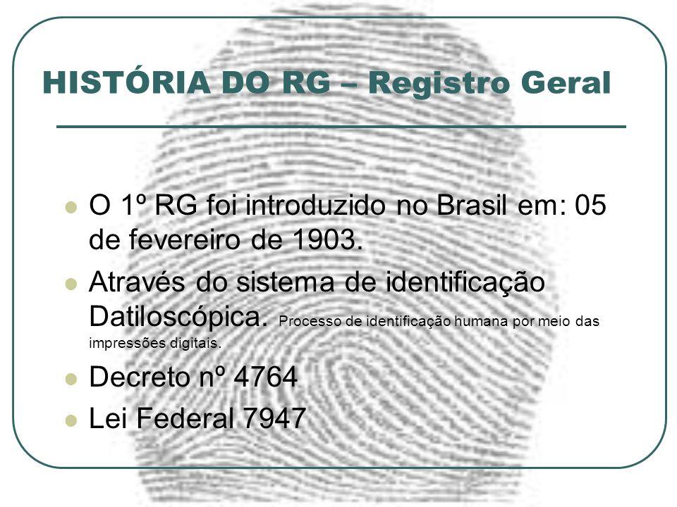 HISTÓRIA DO RG – Registro Geral O 1º RG foi introduzido no Brasil em: 05 de fevereiro de 1903. Através do sistema de identificação Datiloscópica. Proc