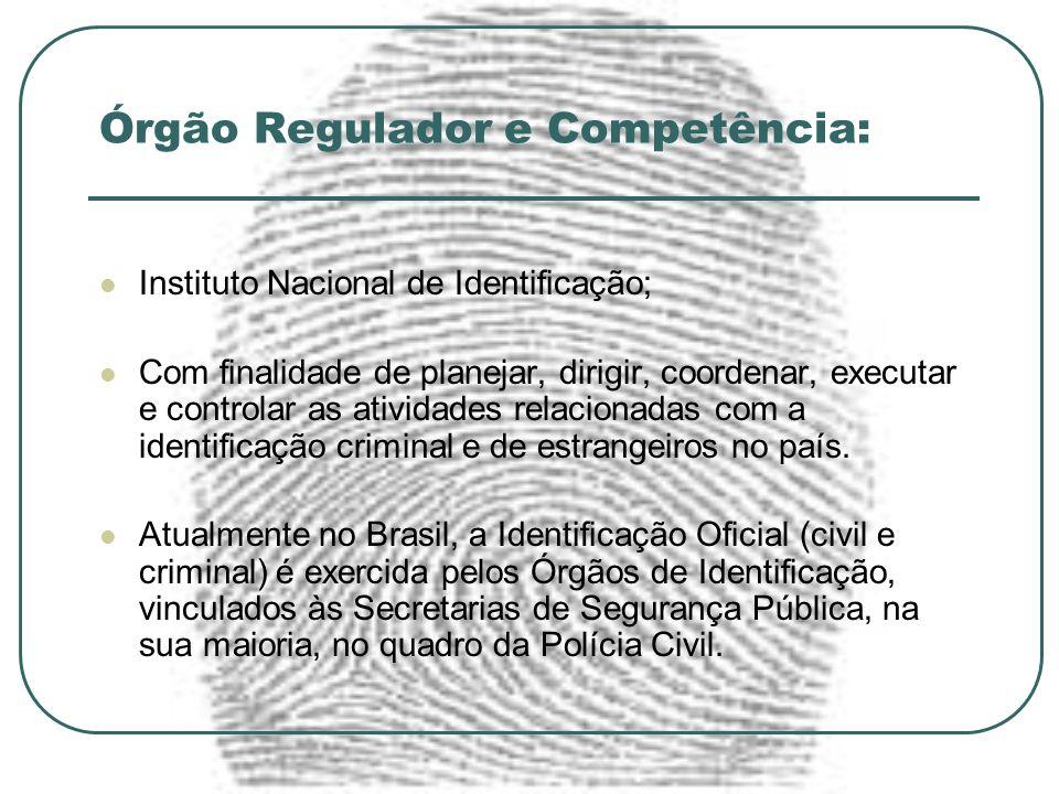 Órgão Regulador e Competência: Instituto Nacional de Identificação; Com finalidade de planejar, dirigir, coordenar, executar e controlar as atividades