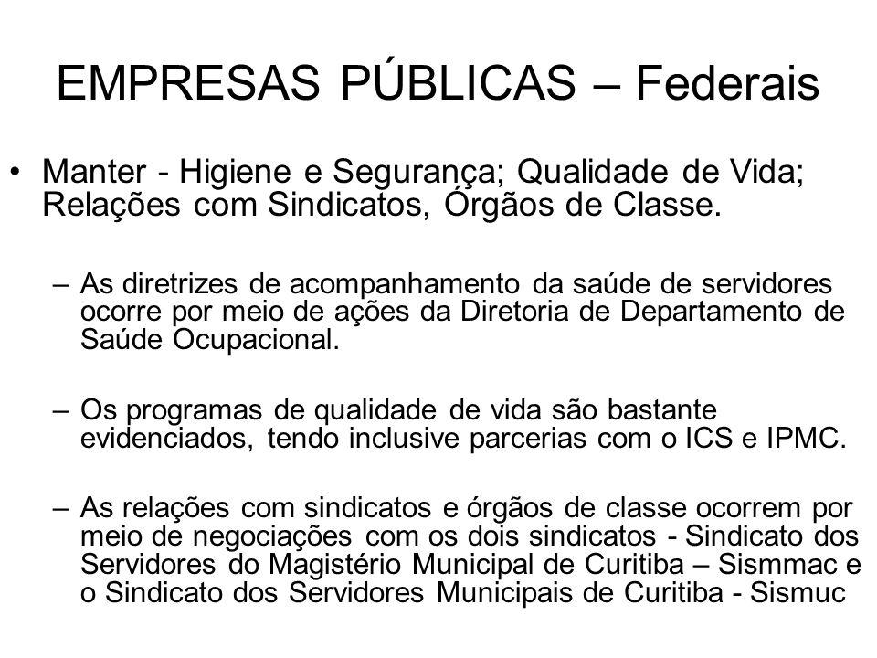 EMPRESAS PÚBLICAS – Federais Manter - Higiene e Segurança; Qualidade de Vida; Relações com Sindicatos, Órgãos de Classe. –As diretrizes de acompanhame