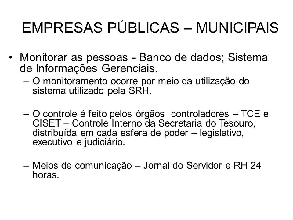 EMPRESAS PÚBLICAS – MUNICIPAIS Monitorar as pessoas - Banco de dados; Sistema de Informações Gerenciais. –O monitoramento ocorre por meio da utilizaçã
