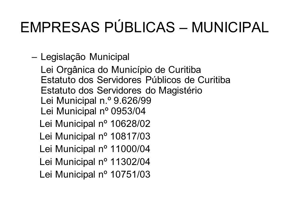 EMPRESAS PÚBLICAS – MUNICIPAL –Legislação Municipal Lei Orgânica do Município de Curitiba Estatuto dos Servidores Públicos de Curitiba Estatuto dos Se