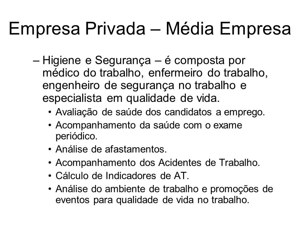 Empresa Privada – Média Empresa –Higiene e Segurança – é composta por médico do trabalho, enfermeiro do trabalho, engenheiro de segurança no trabalho