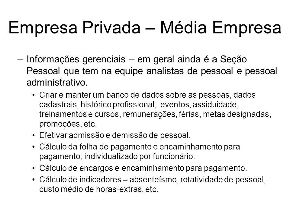Empresa Privada – Média Empresa –Informações gerenciais – em geral ainda é a Seção Pessoal que tem na equipe analistas de pessoal e pessoal administra