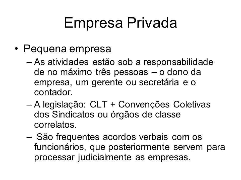 Empresa Privada Pequena empresa –As atividades estão sob a responsabilidade de no máximo três pessoas – o dono da empresa, um gerente ou secretária e