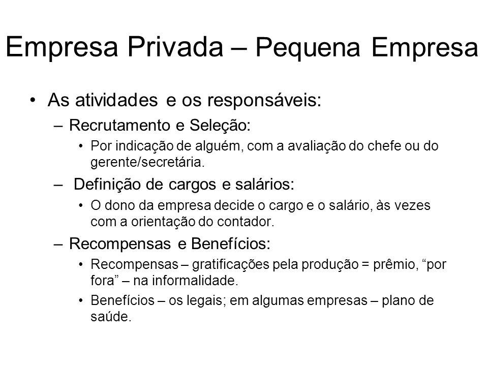 Empresa Privada – Pequena Empresa As atividades e os responsáveis: –Recrutamento e Seleção: Por indicação de alguém, com a avaliação do chefe ou do ge
