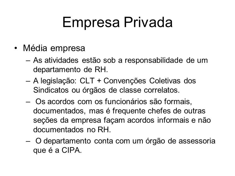 Empresa Privada Média empresa –As atividades estão sob a responsabilidade de um departamento de RH. –A legislação: CLT + Convenções Coletivas dos Sind