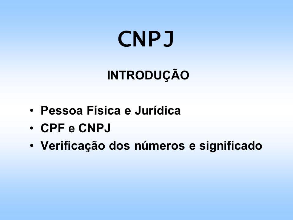 CNPJ INTRODUÇÃO Pessoa Física e Jurídica CPF e CNPJ Verificação dos números e significado