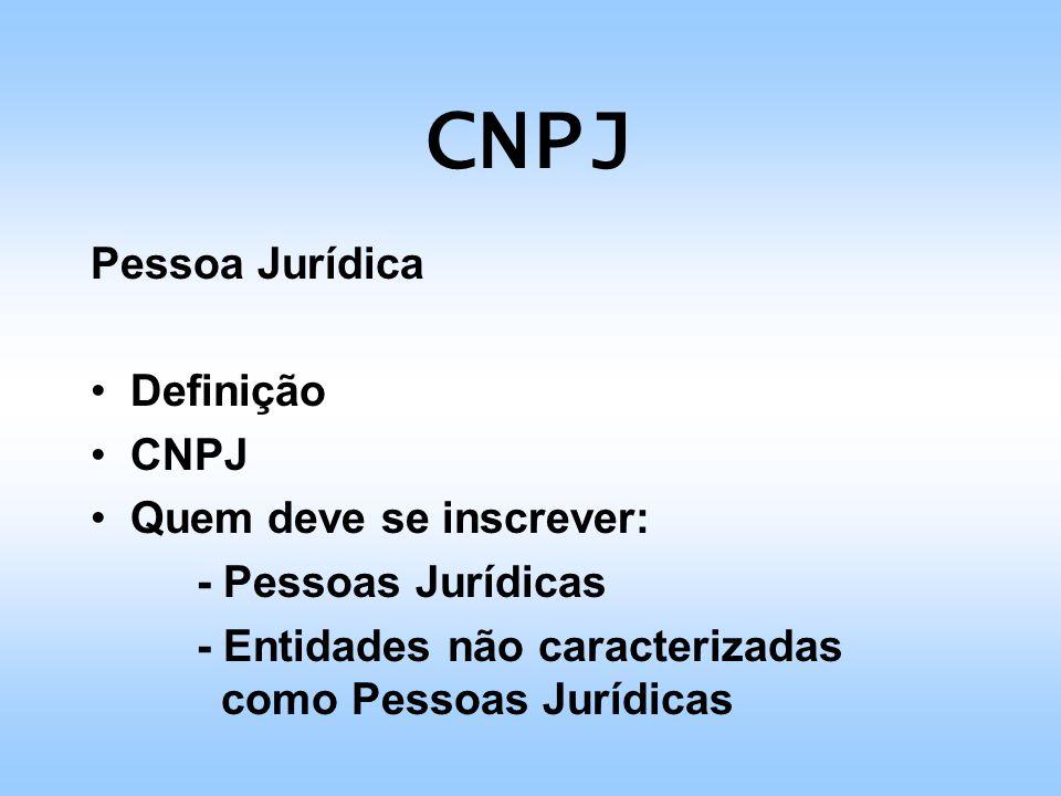 CNPJ Algorítmo do CNPJ - Cálculo Ex: 11.222.333/0001-XX Nº do CNPJ 112223330001 Valores p/ o cálculo 543298765432 Total 5464182421180002