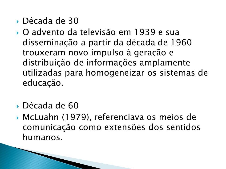 Década de 30 O advento da televisão em 1939 e sua disseminação a partir da década de 1960 trouxeram novo impulso à geração e distribuição de informações amplamente utilizadas para homogeneizar os sistemas de educação.