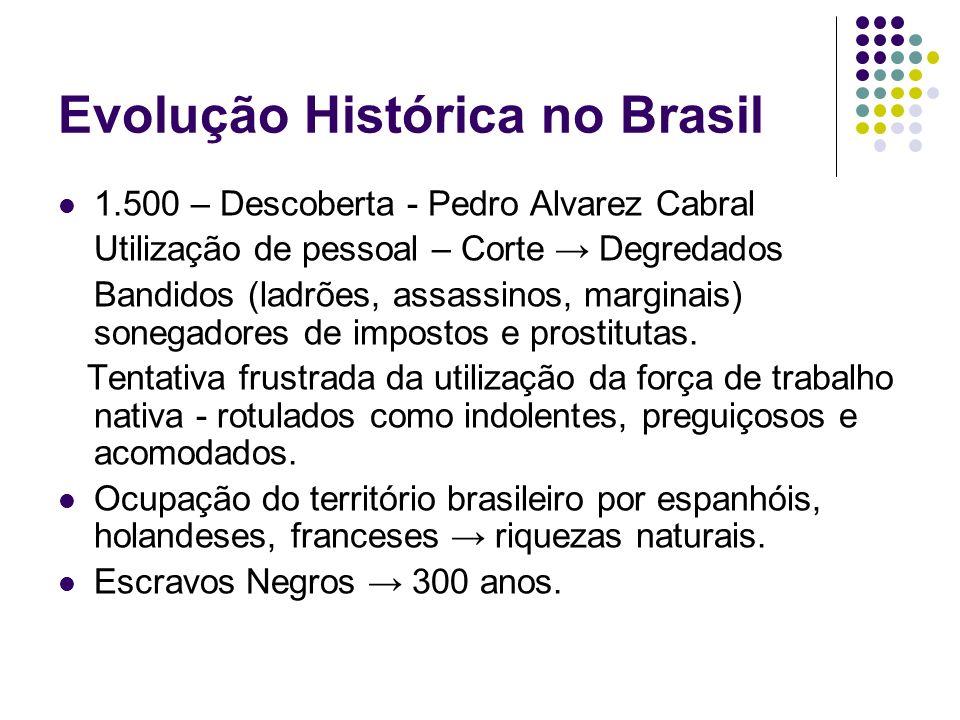 Evolução Histórica no Brasil 1.500 – Descoberta - Pedro Alvarez Cabral Utilização de pessoal – Corte Degredados Bandidos (ladrões, assassinos, margina