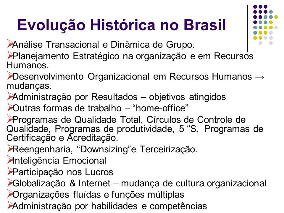 Evolução Histórica no Brasil Análise Transacional e Dinâmica de Grupo. Planejamento Estratégico na organização e em Recursos Humanos. Desenvolvimento