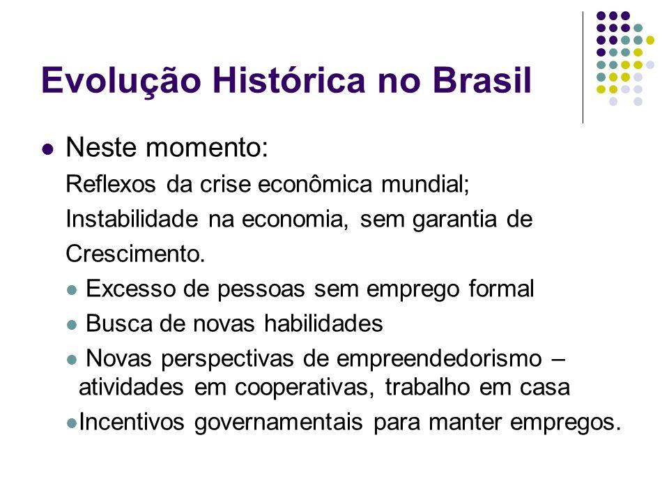 Evolução Histórica no Brasil Neste momento: Reflexos da crise econômica mundial; Instabilidade na economia, sem garantia de Crescimento. Excesso de pe