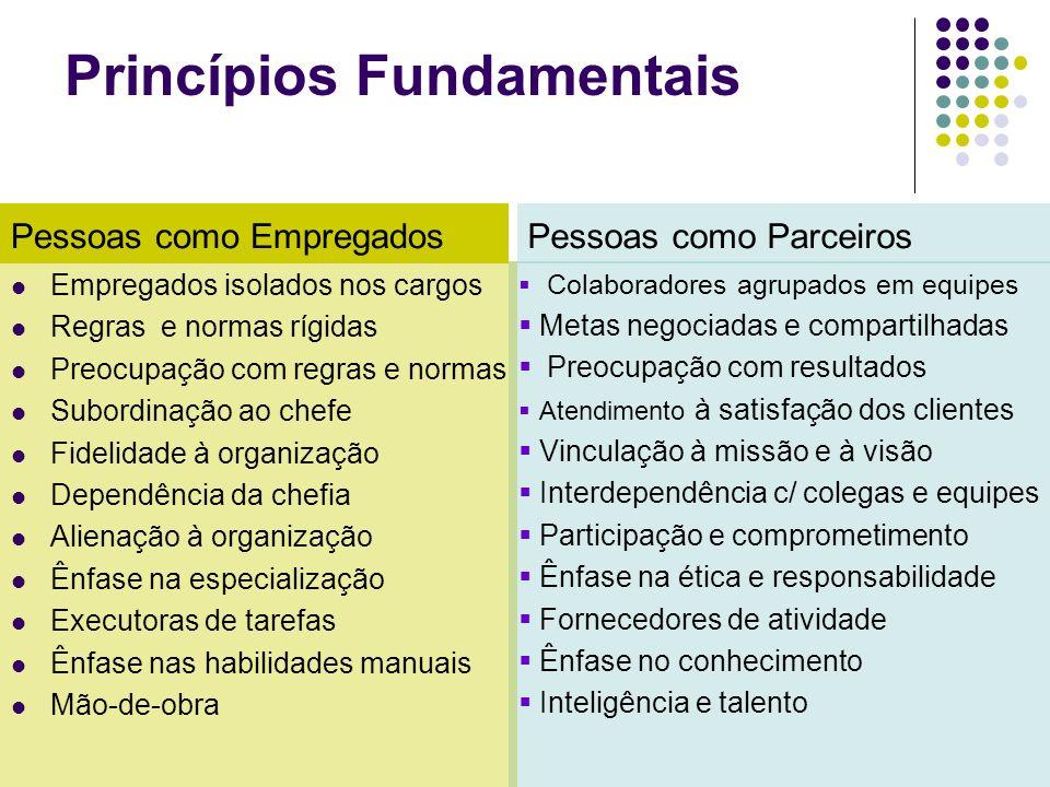 Princípios Fundamentais Empregados isolados nos cargos Regras e normas rígidas Preocupação com regras e normas Subordinação ao chefe Fidelidade à orga